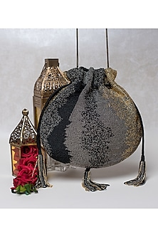 Black Beaded Embroidered Potli by Lovetobag