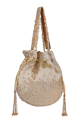 Gold Embroidered Potli With Handle by Lovetobag