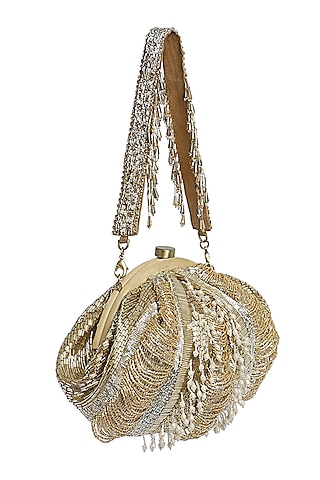 Gold Bead Embroidered Pouch With Handle by Lovetobag