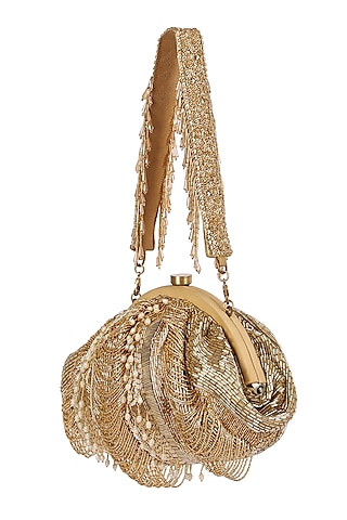Gold Pearl Embroidered Pouch With Handle by Lovetobag