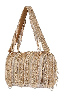 Gold Bead Embroidered Flapover Clutch With Handle by Lovetobag
