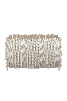 Silver Embroidered Flapover Clutch With Handle by Lovetobag