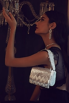 Silver Bead Embroidered Flapover Clutch With Handle by Lovetobag