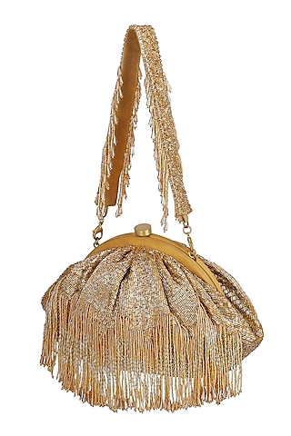 Gold Crystal Embroidered Pouch With Handle by Lovetobag