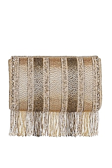Gold Embroidered Flapover Clutch With Long Handle by Lovetobag