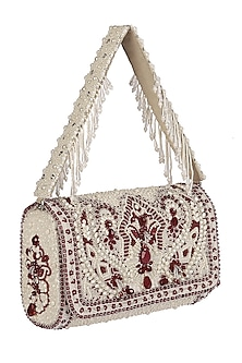 Ruby Red Embroidered Flapover Clutch With Handle by Lovetobag