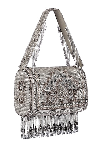 Silver Tassel Embroidered Flapover Clutch With Handle by Lovetobag