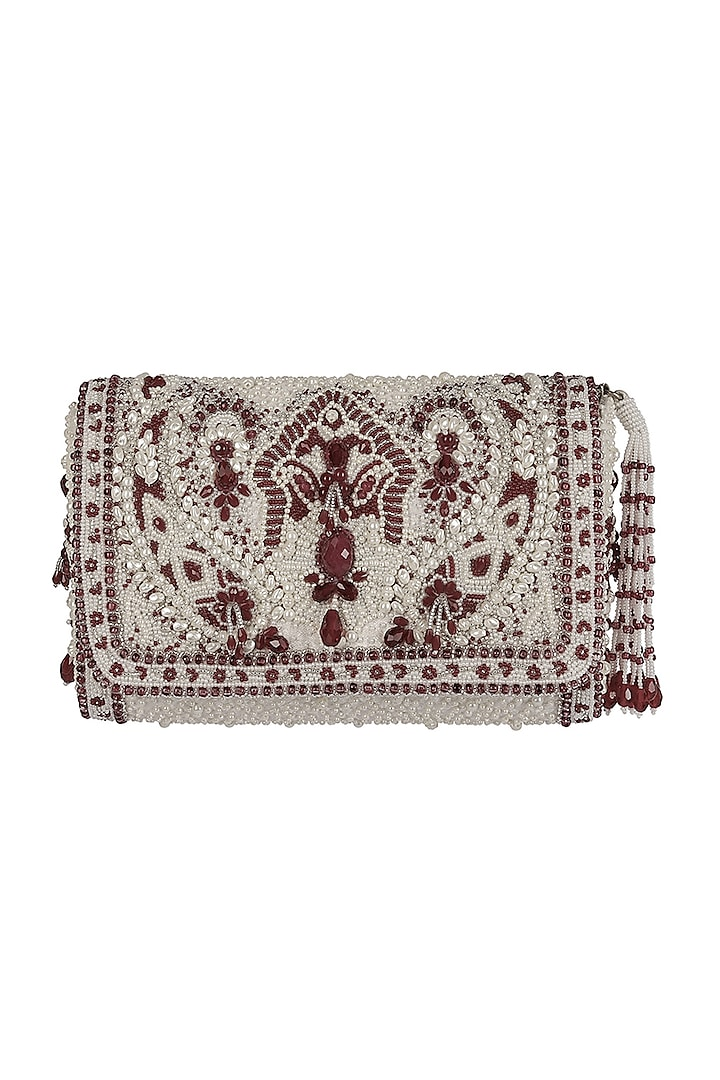 Ruby Red Embroidered Flapover Clutch by Lovetobag