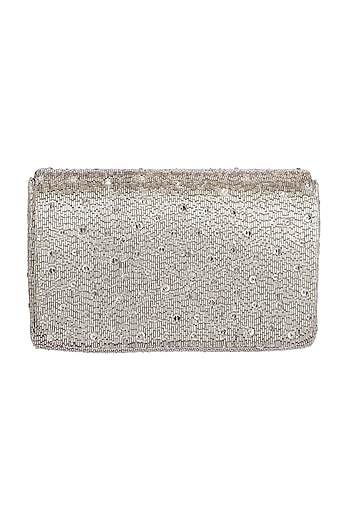 Silver Embroidered Flapover Clutch by Lovetobag