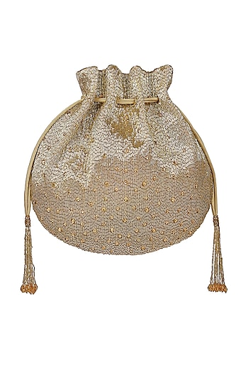 Gold Embroidered Potli With Chain Handle by Lovetobag