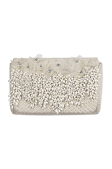 Ivory Embroidered Flapover Clutch by Lovetobag