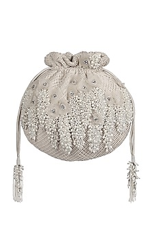 Ivory Bead & Pearl Embroidered Potli by Lovetobag