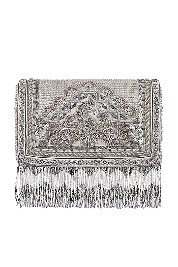 Silver Floral Embroidered Flapover Clutch by Lovetobag