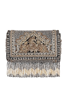 Black Floral Embroidered Flapover Clutch by Lovetobag