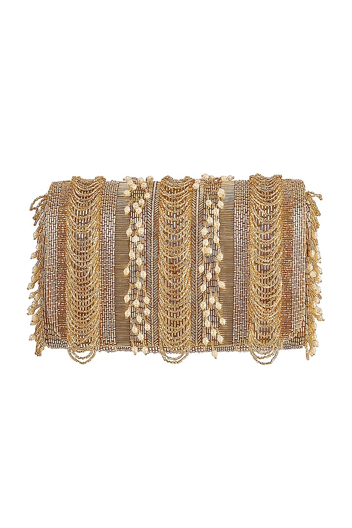Golden Embroidered Fringed Flapover Clutch by Lovetobag