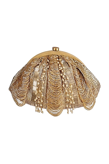 Golden Embroidered Fringed Pouch by Lovetobag