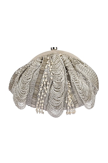 Silver Embroidered Fringed Pouch by Lovetobag