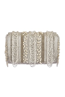 Silver Embroidered Fringed Flapover Clutch by Lovetobag