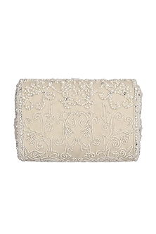 Ivory Bead Embroidered Flapover Clutch by Lovetobag