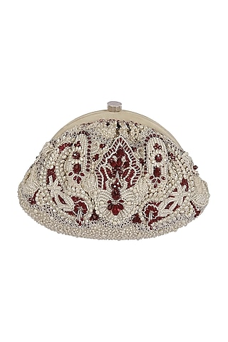 Ruby Red Embroidered Clutch by Lovetobag