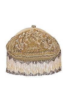 Golden Tassel Embroidered Clutch by Lovetobag