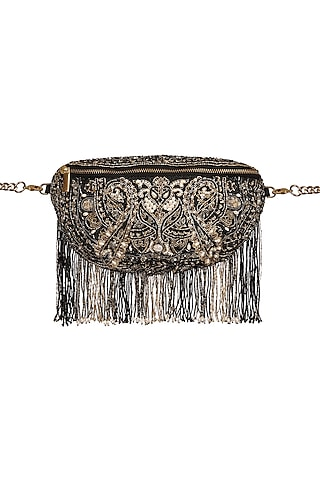 Black Embroidered Fanny Pack by Lovetobag