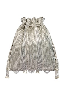 Silver Embroidered Potli With Drawstrings by Lovetobag