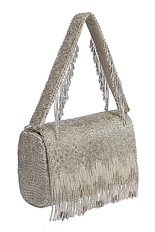 Silver Crystal Embroidered Flapover Clutch by Lovetobag