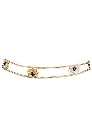 Gold & Silver Finish Lotus Waist Belt by Trupti Mohta