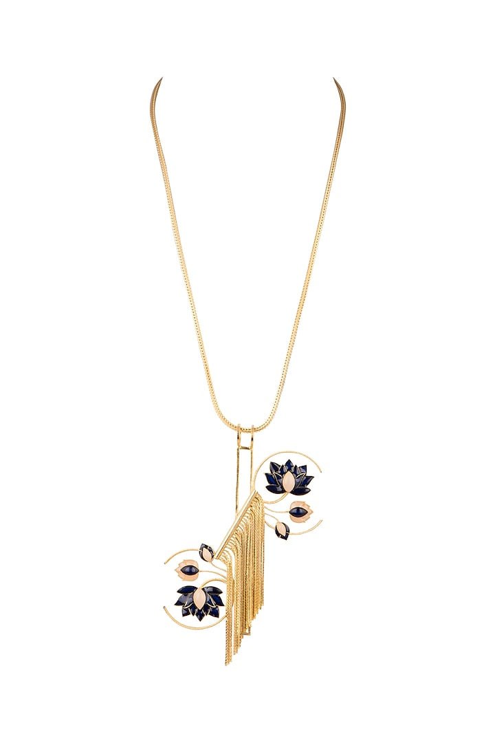 Gold & Silver Finish Enamel Lotus Chain Necklace by Trupti Mohta