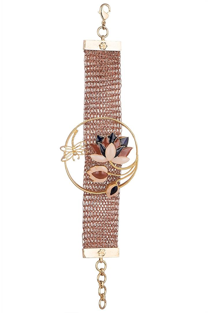 Gold Finish Enamel Bracelet by Trupti Mohta