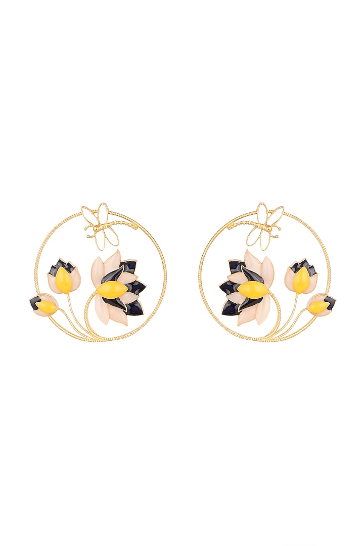 Gold Finish Enameled Round Earrings by Trupti Mohta