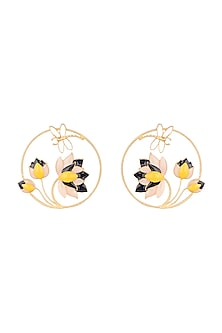 Gold Finish Enameled Round Earrings by Limited Edition