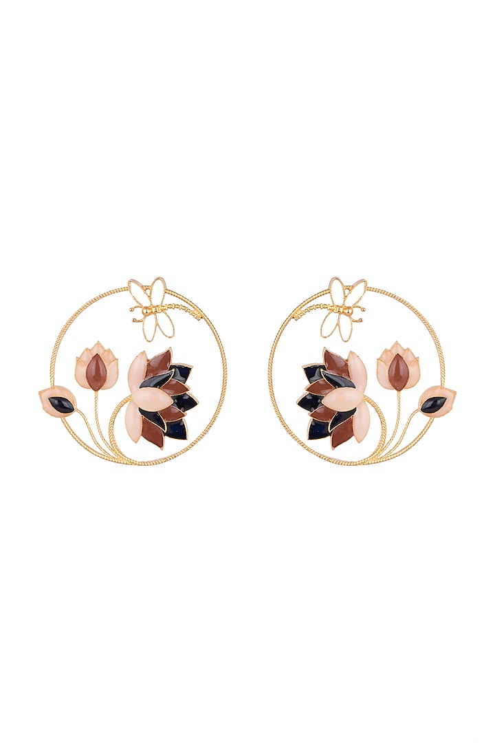 Gold Finish Enamel Lotus Round Earrings by Trupti Mohta