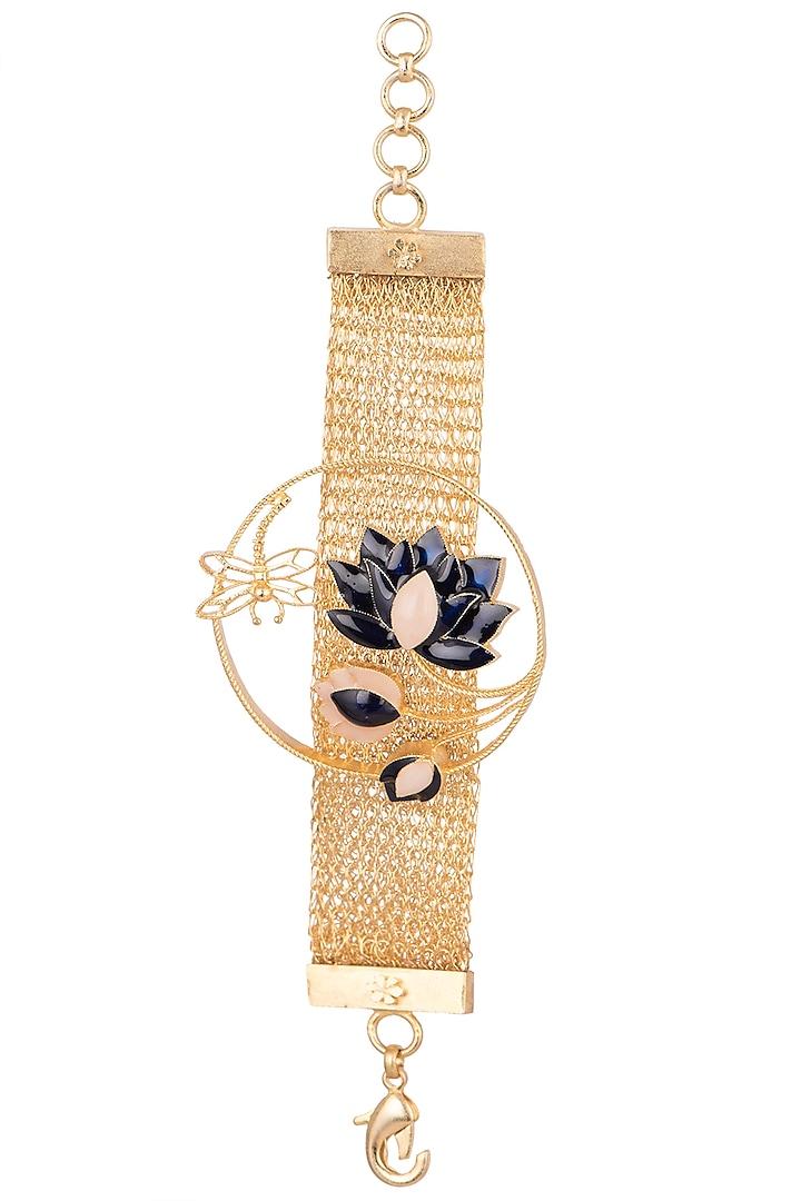 Gold Finish Enamel Chain Bracelet by Trupti Mohta