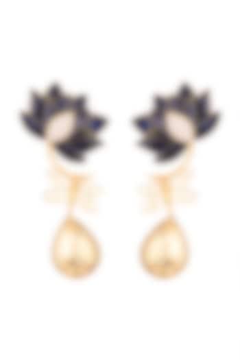 Gold Finish Enamel Lotus Drop Earrings by Trupti Mohta