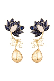 Gold Finish Enamel Lotus Drop Earrings by Limited Edition