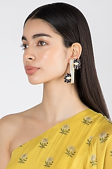 Gold & Silver Finish Enameled Earrings by Limited Edition