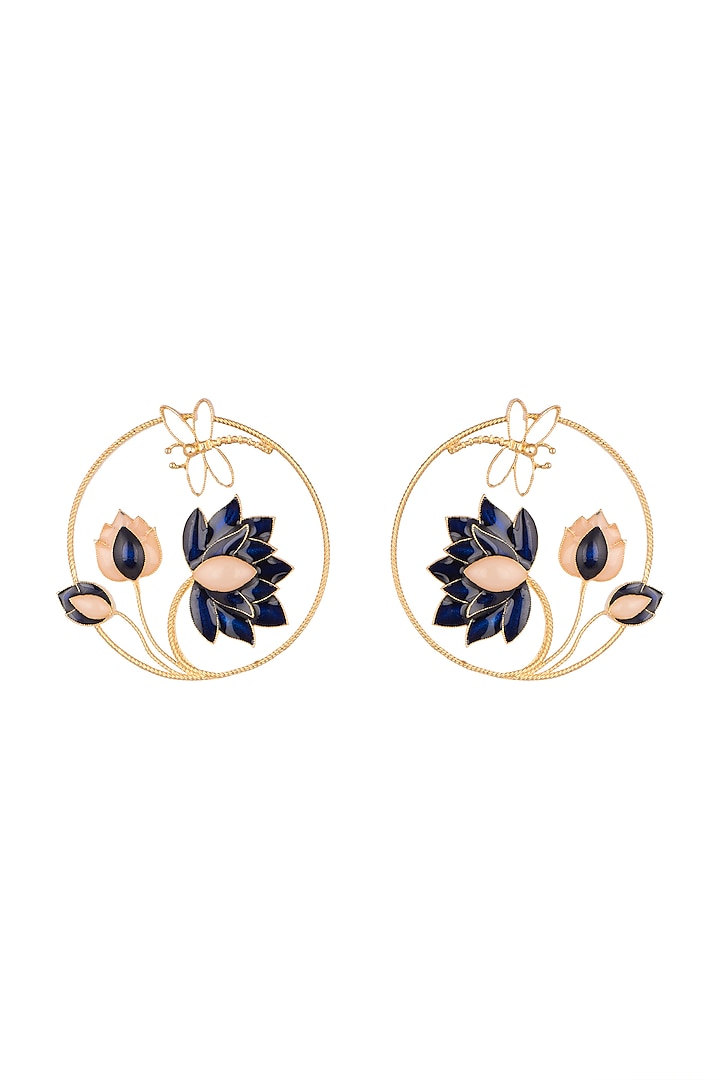 Gold Finish Round Earrings by Trupti Mohta