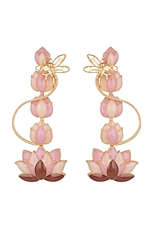 Gold Finish Lotus Long Earrings by Limited Edition