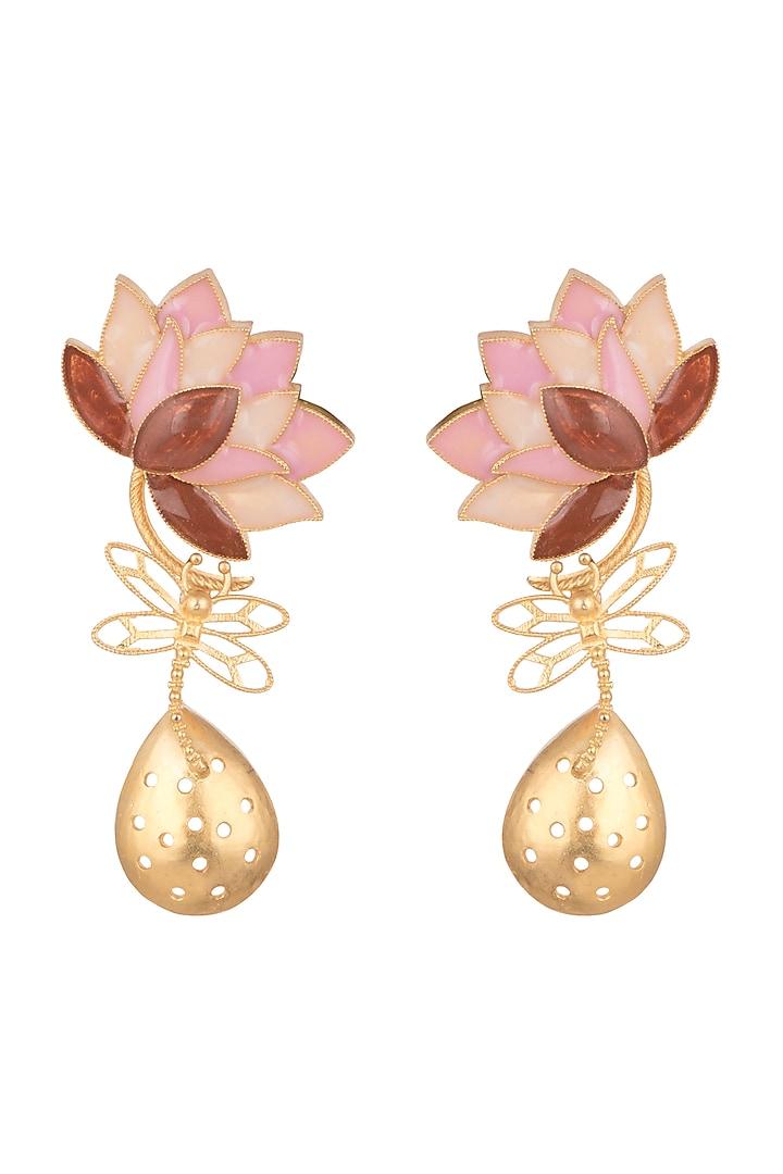 Gold Finish Pink Enamel Drop Earrings by Trupti Mohta