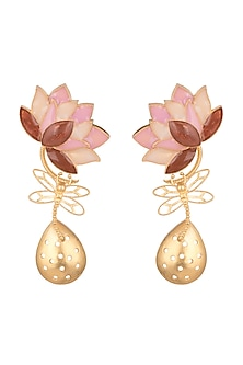 Gold Finish Pink Enamel Drop Earrings by Limited Edition
