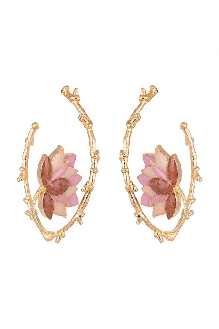 Gold Finish Enamel Curved Hoop Earrings by Trupti Mohta