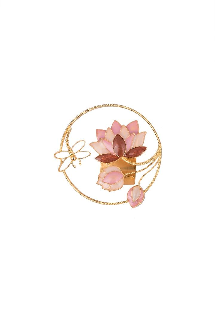 Gold Finish Enameled Lotus Ring by Trupti Mohta