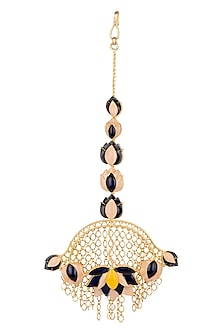 Gold Finish Blue Enameled Maang Tikka by Limited Edition