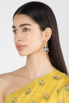 Gold Finish Enamel Lotus Hoop Earrings by Limited Edition