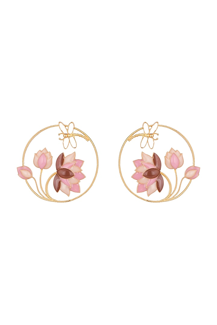 Gold Finish Pink Enameled Round Earrings by Trupti Mohta