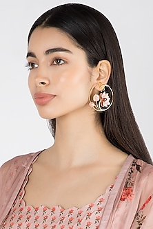 Gold Finish Pink Enameled Round Earrings by Limited Edition