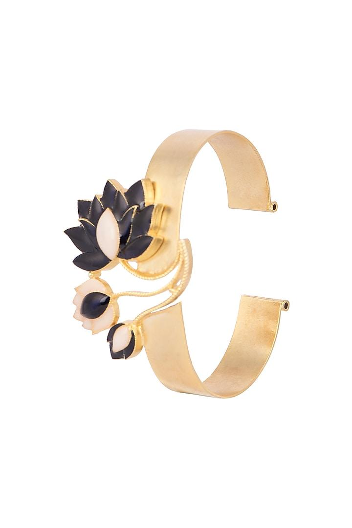 Gold Finish Blue Enamel Bracelet by Trupti Mohta