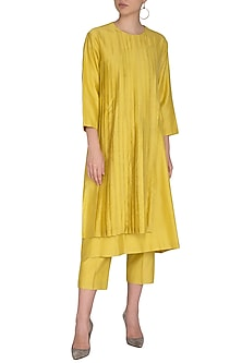 Yellow Embroidered Kurta With Cropped Pants by Little Things Studio